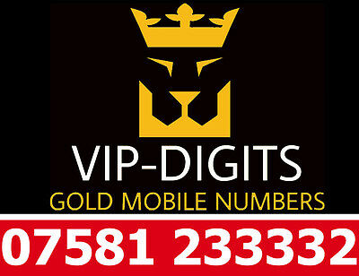 07581 233332 Vip Gold Easy Diamond Platinum Good O2 Mobile Phone Number Sim Card
