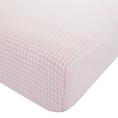Pale Pink Gingham Single Fitted Sheet