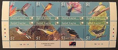 ST. LUCIA. Mint Never Hinged Set of Bird Stamps.