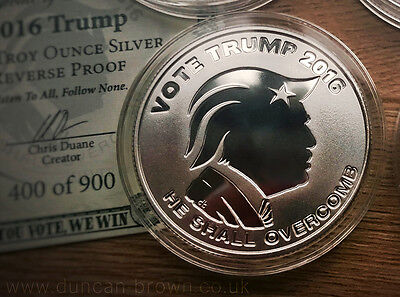 SILVER SHIELD - OLIGARCHY - VOTE TRUMP - 1oz .999 SILVER PROOF COIN 2016