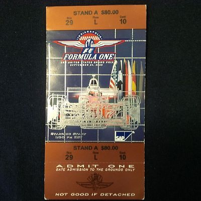F1 United States Grand Prix Indianapolis Sept 24, 2000.tickets.ticket Stubs