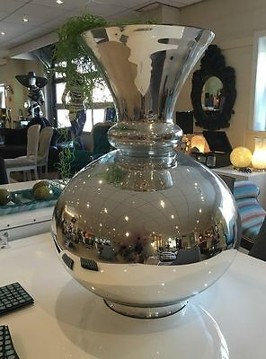 Large Chrome Argentina Large Mirrored Display Floral Vase Home Decor
