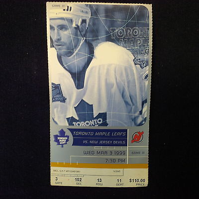 Toronto Maple Leafs Vs New Jersey Wed. Mar. 3 1999. Tickets.ticket Stubs
