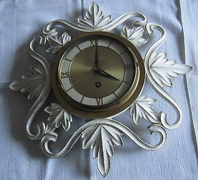 Vintage Mid Century 60's Syroco Wood Ornate 8 Day Jeweled Wall Clock