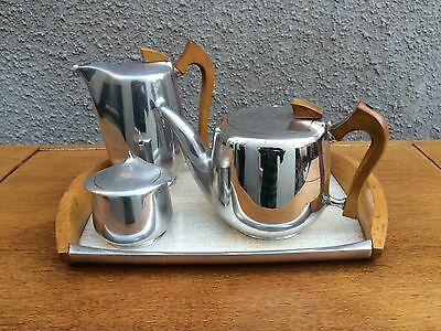Vintage 1950s Picquot Ware 5 Piece Tea And Coffee Set with Tray