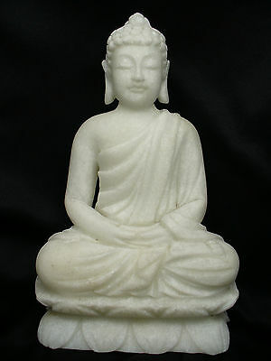 Beautifully Carved Antique Chinese Hunan White Marble Buddha Statue