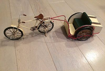 Unique Vintage Metal Art Bicycle With Carriage For Collectors Home Decor