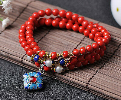 6mm Red Cinnabar Beads with Cloisonn Pendant Bracelet
