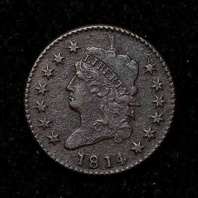 1814 1C Classic Head Large Cent Crosslet 4 Variety United States Type Coin