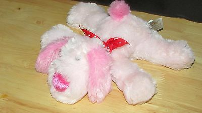 Plush Pink puppy dog lying down red love hearts bow Dandee Valentine's day toy