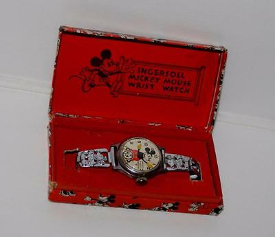 Ex!disney 1934 Ingersoll Mickey Mouse Wristwatch+Metal Band+Boxed Set+Keeps Time