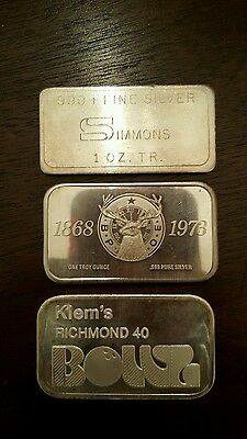 Mixed Lot of 3 vintage 1 oz .999 silver bars...Low Mintage..Nice assortment