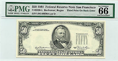1981 $50 Federal Reserve Note (Error 3rd Print on Back) Fr#2120-L - PMG 66 EPQ -