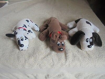 """Vtg 1980s Plush Lot 3 Pound Puppies Tonka Spotted Solid Brown Black White 9"""" 8"""""""