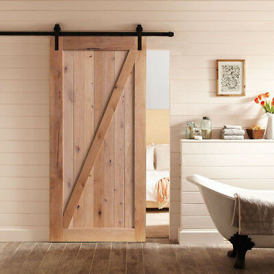 Vintage Wood Sliding Barn Door DIY Assembled Planks/Hardware Closet Kit/Rollers