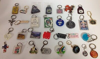 30 Vintage Antique/Rare Estate Key Chains Different Kinds Places & Ages SF61