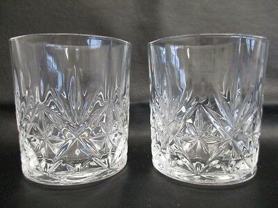 2 x Cut Glass Tumbler Glasses - Spirits / Wine / Juice Height - 8cm High