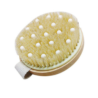 Wooden Body Brush With Spa Massage Nodules Bath Shower Bristle Scrubber Brushes