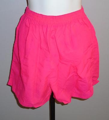 LADIES VTG 1980s NEON PINK NYLON SHORTS SIZE MEDIUM MADE IN CANADA PRE-OWNED