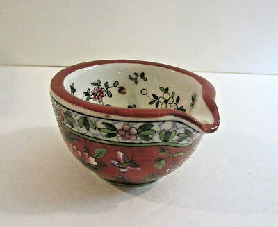 """Vintage Hand Painted Enamel French Apothecary Mortar Beautiful! 3 1/4""""D x 2""""H"""