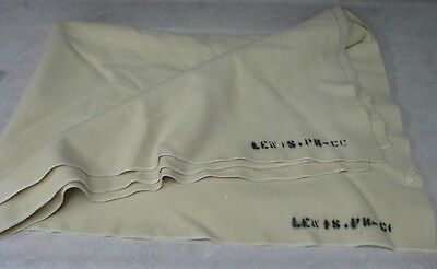 """Twin Size Cream Color Wool Blanket   54"""" X 76"""""""