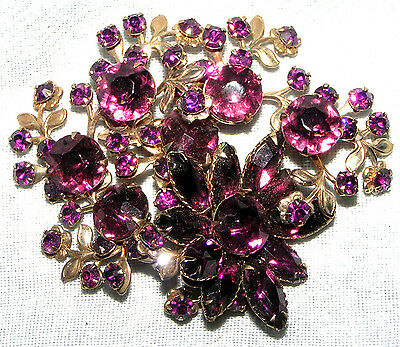 Vintage Classic With Amethyst Color Crystal Fancy Large Floral Pin Brooch