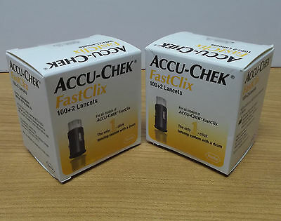 204 Accu-Chek FastClix Lancets_ (2) Sealed Boxes of 100+2 _ Exp 4-2018