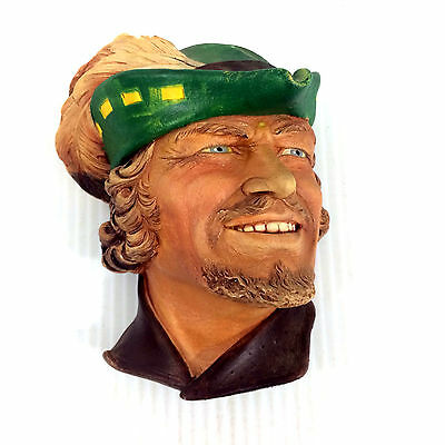 Vintage Unmarked Bossons Style Robin Hood Head Bust Flynn Chalkware Wall Hanging