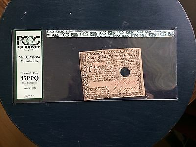 1780 Massachusetts Colonial Currency $20 Note PCGS 45 PPQ Extremely Fine