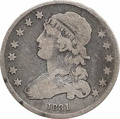 1831 Capped Bust Quarter Fine F Details, Graffiti on Reverse