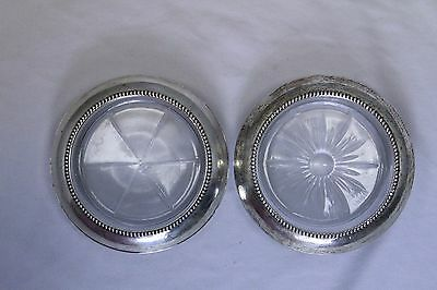 set of two Vintage Frank M. Whiting & Co. Sterling Silver Glass COASTER
