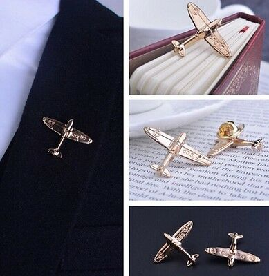 Gold Aeroplane Plane Airplane RAF Lapel Pin Suit mens groom Groomsmen Brooch