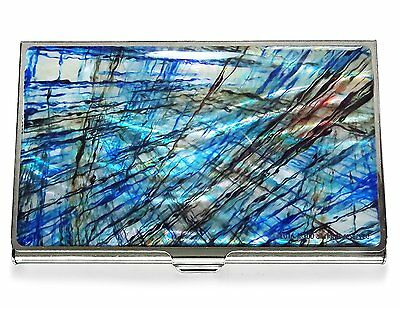 Business Credit Card Case Id Holder Metal Travel Wallet Mother of Pearl Blue