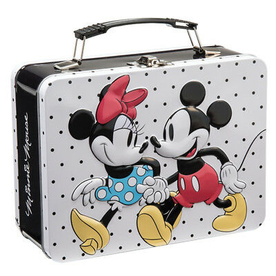 Walt Disney Classic Mickey and Minnie Mouse Large Tin Tote Lunchbox NEW UNUSED