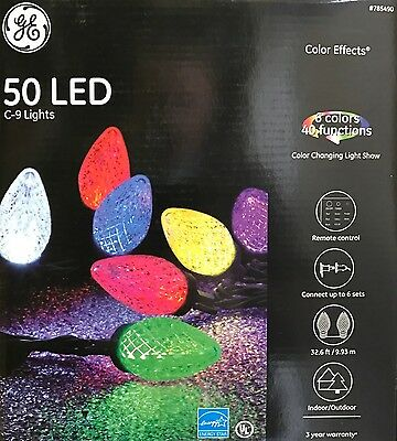 GE 50 C-9 Faceted LED Color Changing Lights w/40 Function Remote Control - NEW