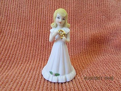 ENESCO Figurine 1981 Growing Up Birthday Girls Age 9 Blonde Pink Dress