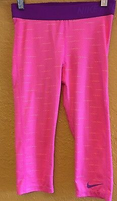 Girl's NIKE PRO COMPRESSION CAPRI PANTS SIZE M 10/12 Athletic Gear Pink