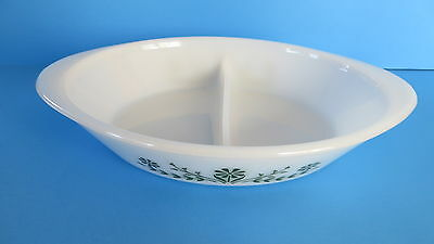 Vintage Glasback Ovenware White Primrose Dream Green Floral Oval Divided