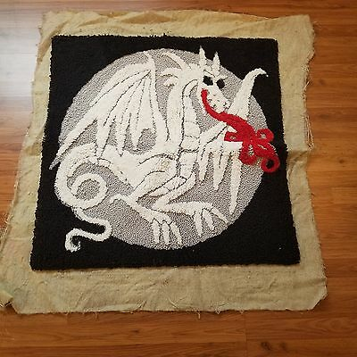 "Rug Crafters Vtg Dragon 36"" Square Latch Hook Rug Wall Hanging Red Black Gray"