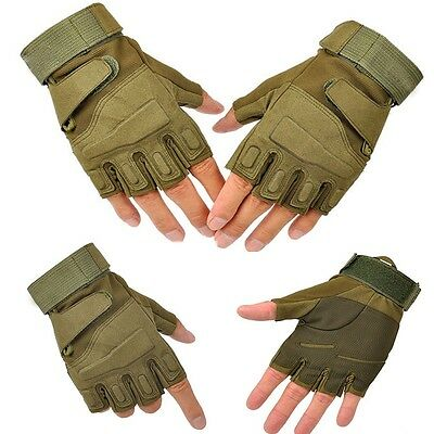 Airsoft Hunting Knuckle Military Riding Glove Fingerless Tactical Outdoor