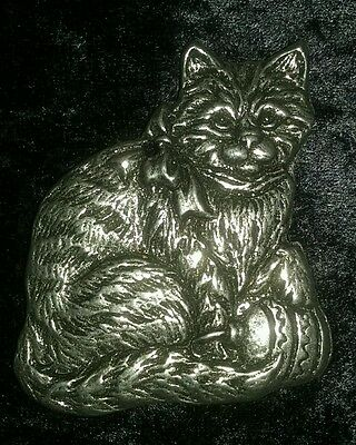 1993 Carson Pewter Christmas Cat Ornament