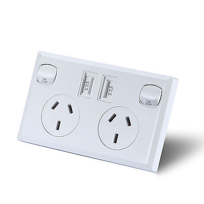 Dual USB Australian Power Point Home Wall Power Socket Electrical AU Approved