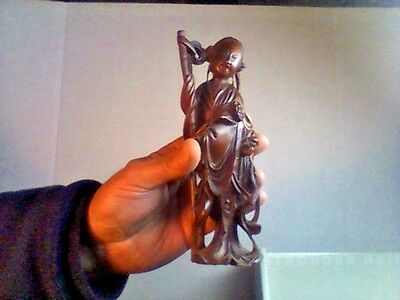 Antique Chinese Fine Wood Carving ....beautiful Detail 8In.