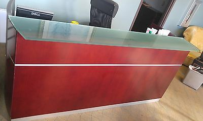 Mayline Napoli Reception Desk with floating glass transaction counter