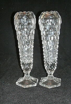 "Fostoria AMERICAN Clear Pair of Cupped 8 1/4"" Bud Vases Hex Base Retired #2056"