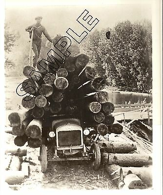 Early 1920s GMC LOGGING TRUCK w/Huge Load of Small Logs 8x10 Glossy B&W Photo
