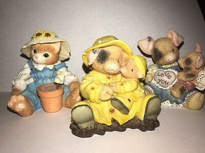ENESCO Lot 3 2 THIS LITTLE PIGGY 1 Calico Kitty Showers Pigs Fly Friendship figu