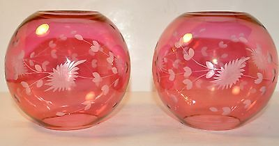 Pair Antique Bohemian Cranberry Red Cut Etched To Clear Stained Glass Globe Vase