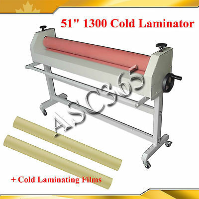 """51"""" Manual Cold Laminator with 2Rolls 1.38x54Yard Two kinds Cold Laminating Film"""