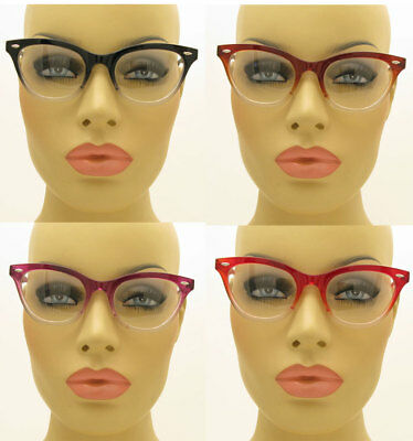 New Vintage Style Clear Lens Ombre Cat Eye Glasses Eyeglasses Black Brown